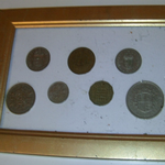 1960 United Kingdom coinage all 7 mounted in frame Cheap for sale